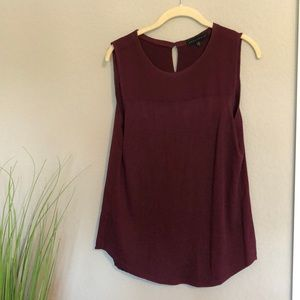 SANCTUARY Womens Maroon Sleeveless Jewel Neck